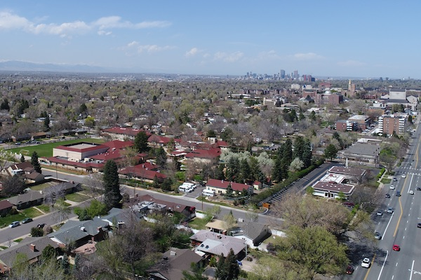 Aerial photo of Denver from drone